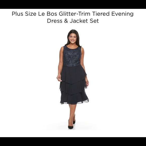 ⬇️Plus size Le Bos glitter evening dress & jacket NWT
